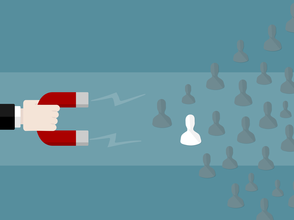 Human resources concept illustration: Attract employees using a giant magnet