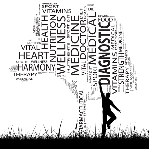 man jumping up to grab a word in a health text word cloud in the shape of a tree tree