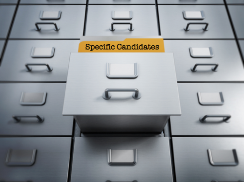 "Folder titled ""Specific Candidates"" in filing cabinet"