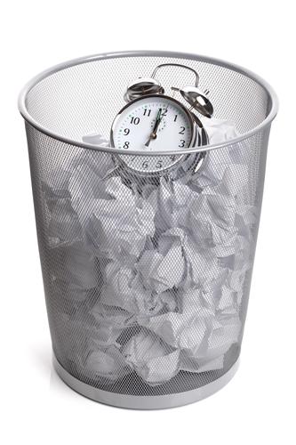 Clock in a wastepaper bin