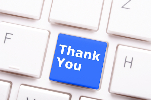 Typing a thank you email