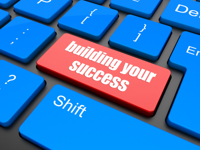 building your success button on computer keyboard key