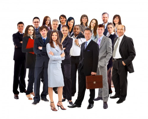 large group of smiling business people standing together