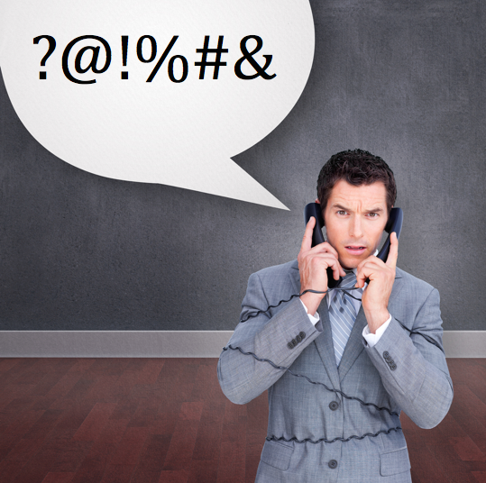 "Angry businessman tangled up in phone wires against speech bubble that reads ""?@!%#&"""