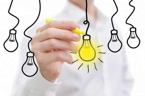 business person sketching idea light bulb concept