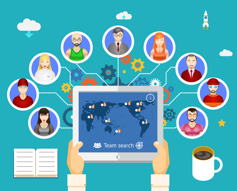 employees connect remotely via technology concept
