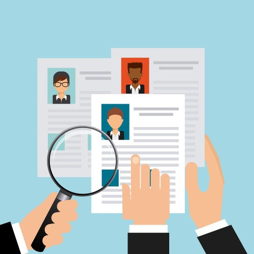 illustration of employers looking at job applicant resumes