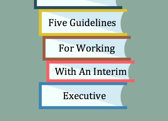 "Illustration of stacked books that reads ""Five Guidelines For Working With An Interim Executive"""