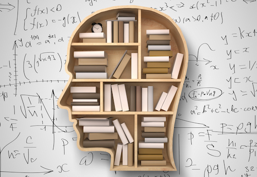 Book shelf in the form of head, filled with books and formulas in the background - knowledge/education concept.