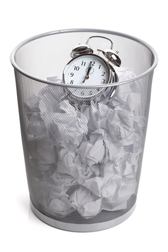 Clock in a wastepaper bin
