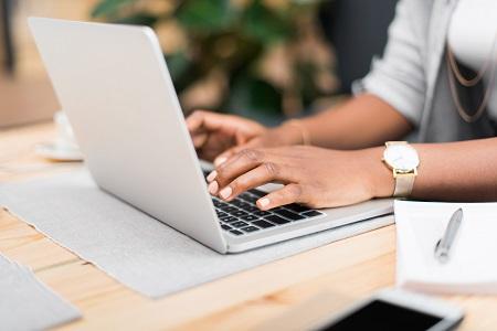 Medical writer typing