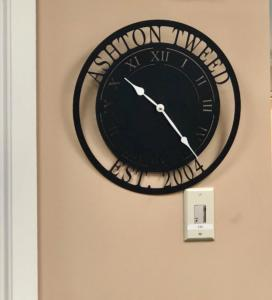 The new clock has been hung in the office!